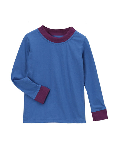 Olymic Blue with Plum Organic Long Underwear Set