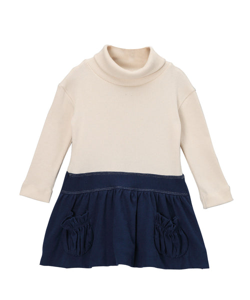 Cream & Navy Blue Organic Rib Turtleneck Bubble Dress
