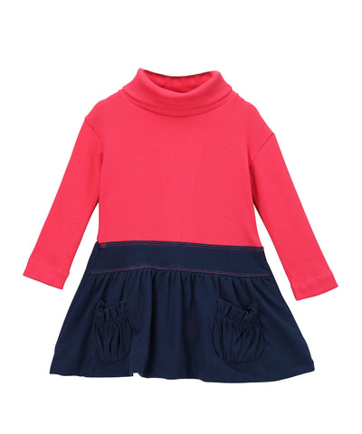 Cabaret Pink & Navy Blue Organic Rib Turtleneck Bubble Dress