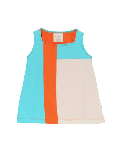 Blue Cura̤ao, Firecracker Orange & Cream Organic Sleeveless Mondrian Dress
