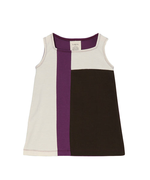 Plum, Toffee & Cream Organic Sleeveless Mondrian Dress