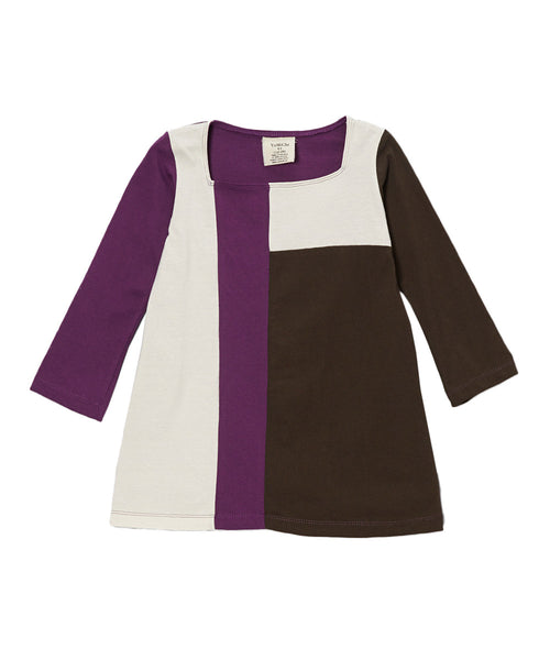 Plum, Toffee & Cream Organic Long Sleeve Mondrian Style Dress