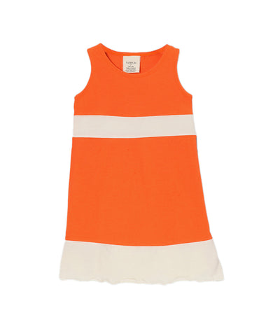 Firecracker Orange & Cream Organic Sleeveless Piece Dress