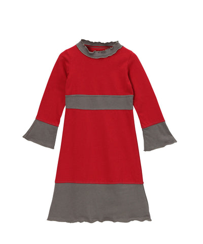 Chili Pepper Red & Charcoal Organic Frill Neck Piece Dress