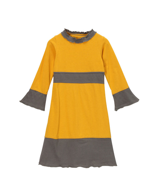 Goldenrod Yellow & Charcoal Organic Long Sleeve Frill Neck Piece Dress