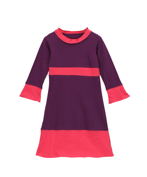 Plum & Cabaret Pink Organic Long Sleeve Frill Neck Piece Dress