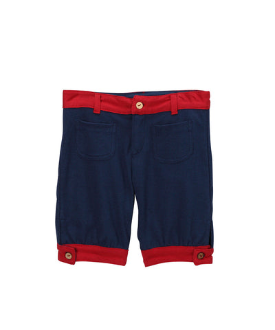 Navy Blue Organic Pocket Shorts with Red Trim