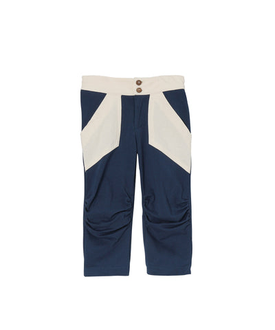 Navy Blue & Cream Organic Rauched Pocket Capris