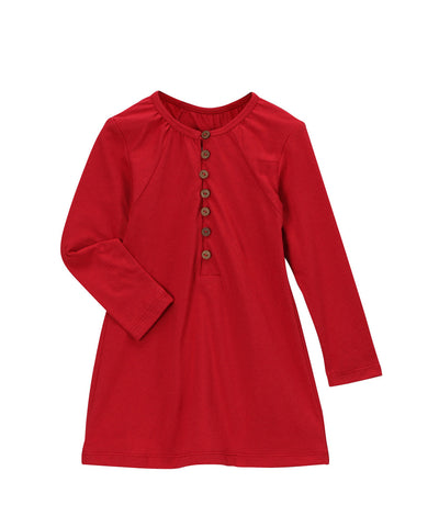 Chili Pepper Red Organic Longsleeve Loop Button Blouse