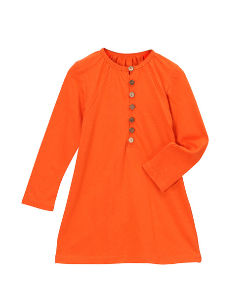 Firecracker Orange Organic Longsleeve Loop Button Blouse