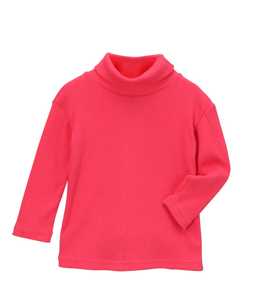Pink Organic Long Sleeve Rib Turtleneck