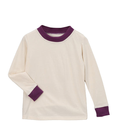 Cream with Plum Organic Long Underwear Set