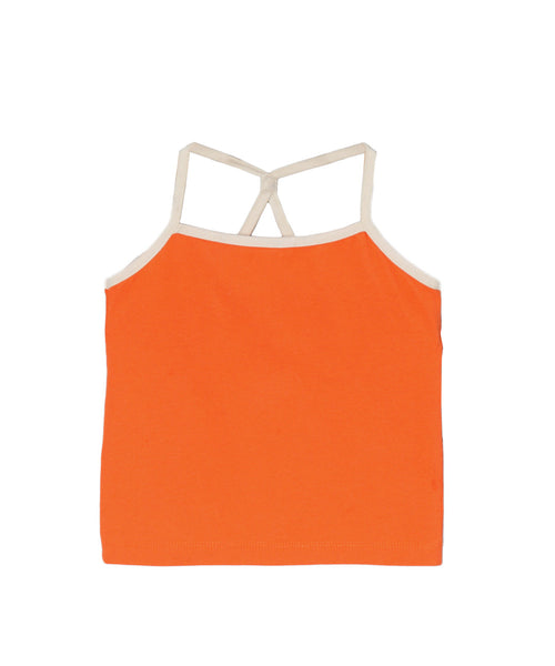 Firecracker Orange Organic Racerback Tank & Spin Skirt With Cream Trim
