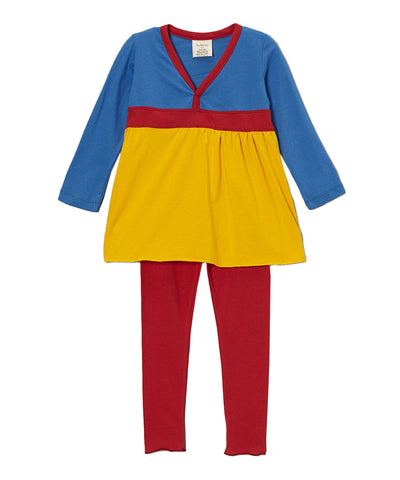 Blue, Yellow and Chili Pepper Red Organic Smock & Legging Combination