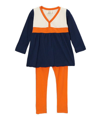Navy Blue, Firecracker Orange & Cream Organic Smock & Legging Combination
