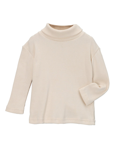 Cream Organic Long Sleeve Rib Turtleneck