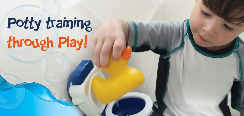 Potty Duck Potty Training Toy - Squirting Rubber Duck With Flushing Toy Toilet and Potty Training Tips