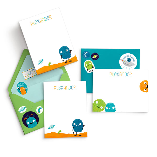 Personalized Monster Alien Kids Stationery Flat Card Writing Set with Stickers