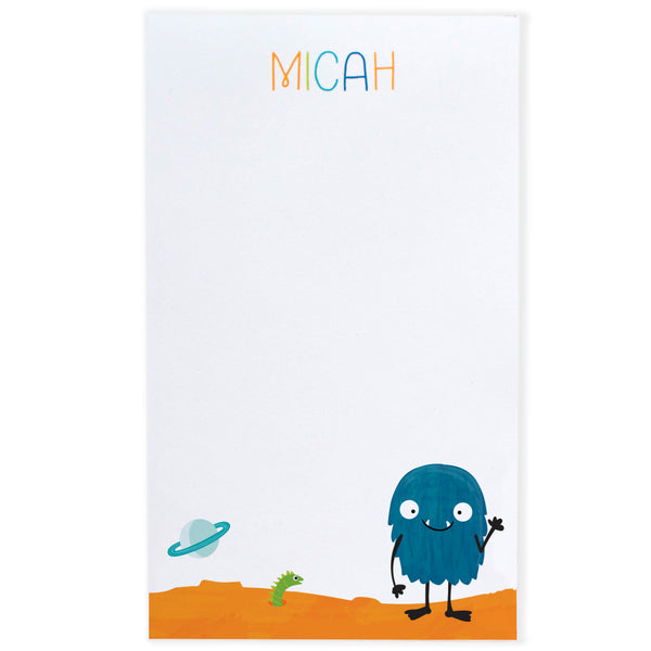 Personalized Kids Alien Monster Notepad