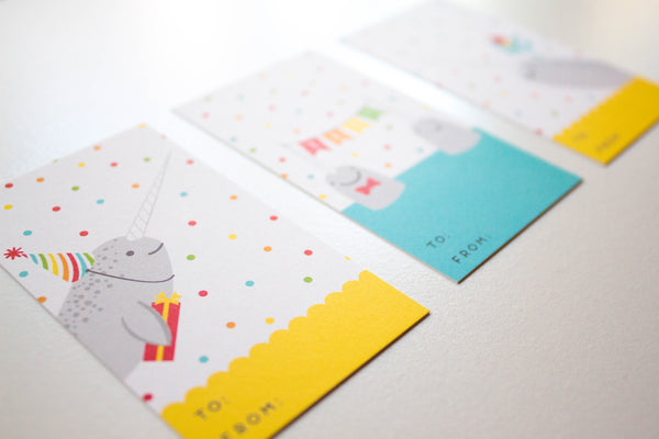 Narwhal Birthday Gift Tags Set - 3 Designs