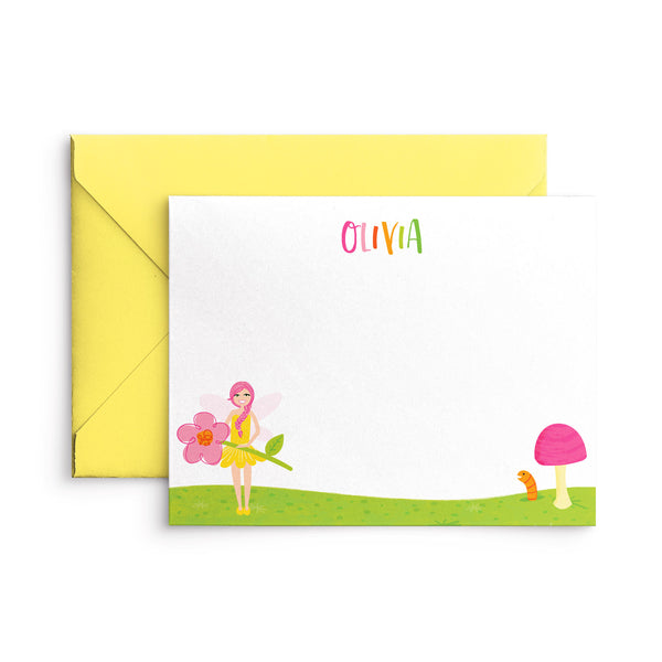 Personalized Fairy Kids Stationery Flat Card Writing Set with Stickers