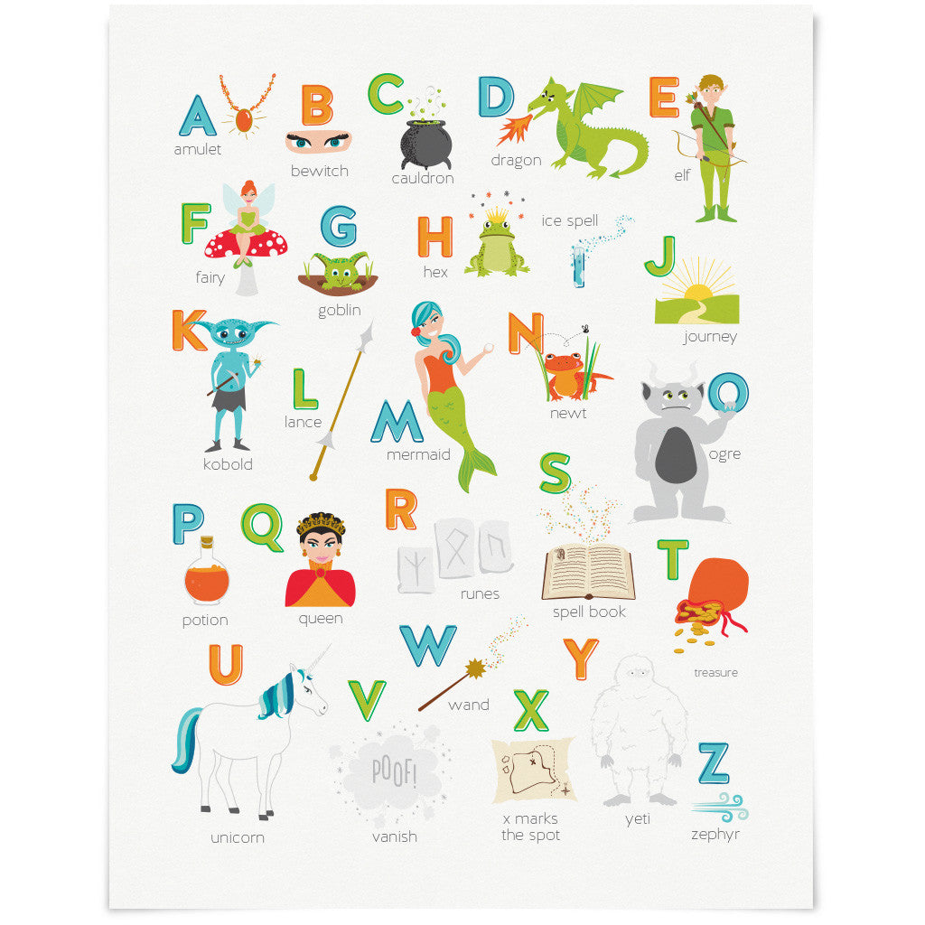 fantasy u0026 fairy tales alphabet abc art print clearance u2013 the