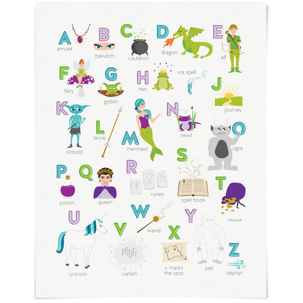 Fantasy & Fairy Tales Alphabet ABC Art Print