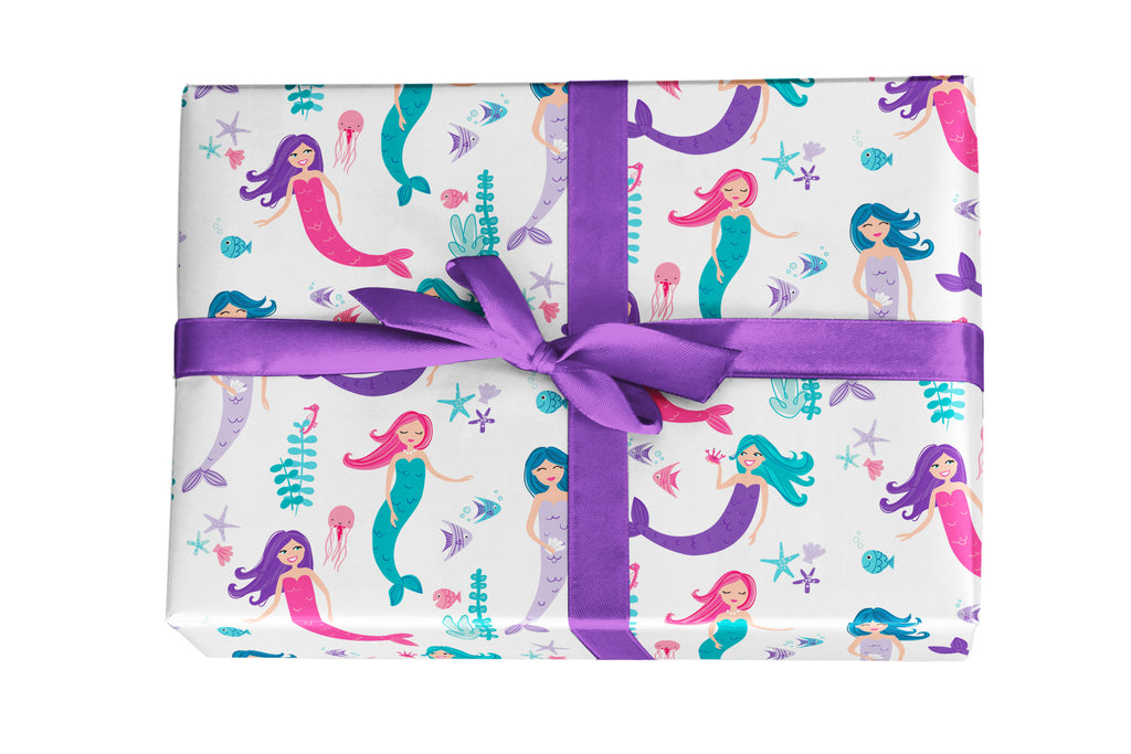 Fun Mermaid Gift Wrap in Purples, Blues, and Pinks