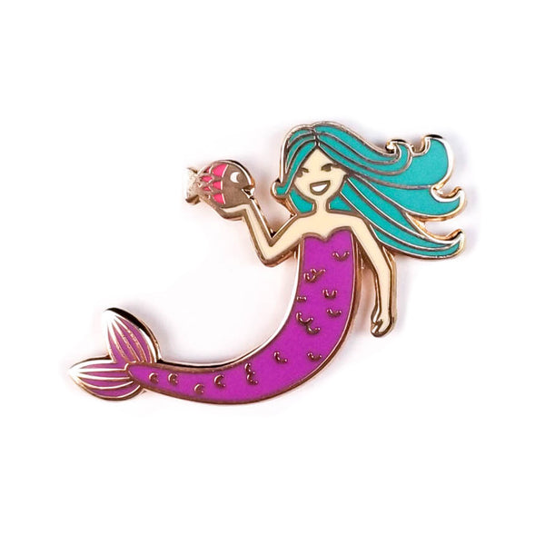 Mermaid and Fish Hard Enamel Pin