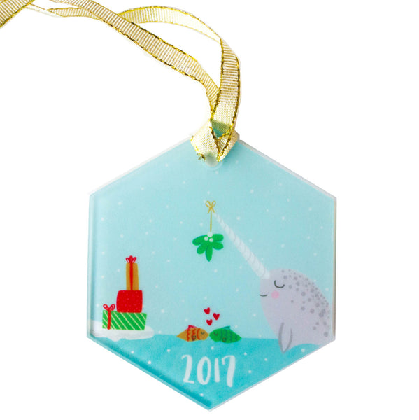 2017 Narwhal Christmas Ornament with Mistletoe