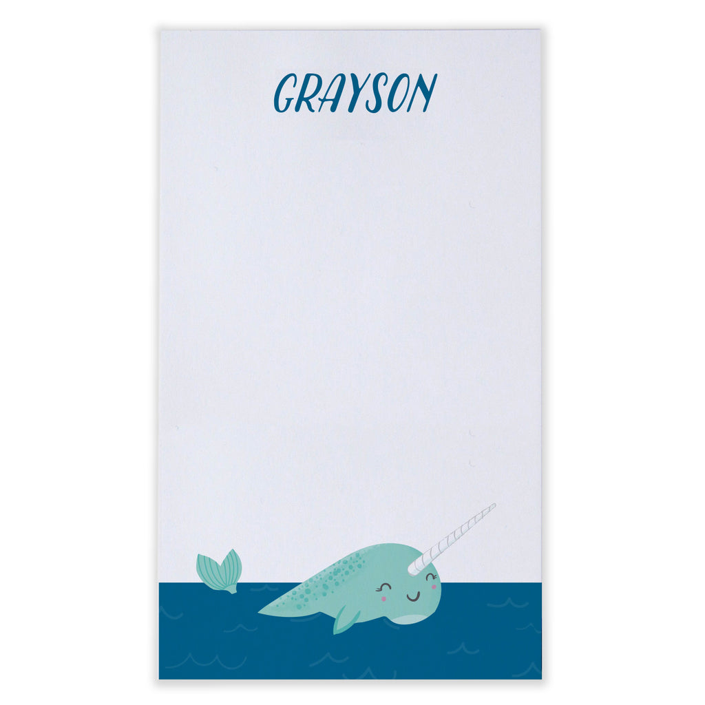 Personalized Kids Narwhal Notepad