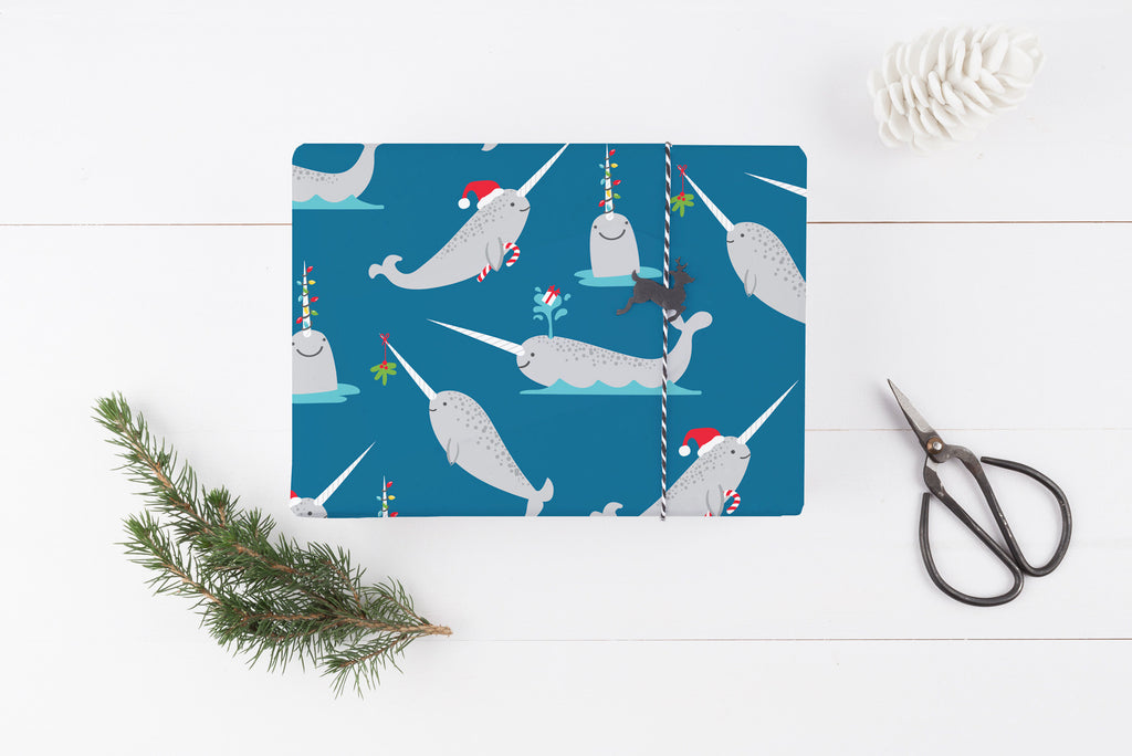 Whimsical Christmas Narwhal Wrapping Paper