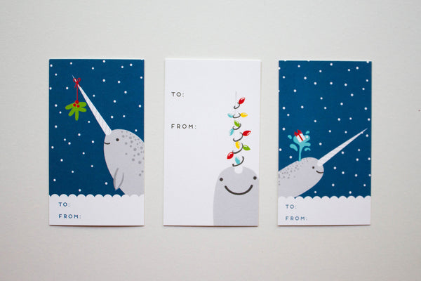 Narwhal Holiday Gift Tags - 3 Designs