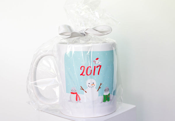 Narwhal Christmas Holiday Winter Mug with Seals, Fish, and Arctic Bird