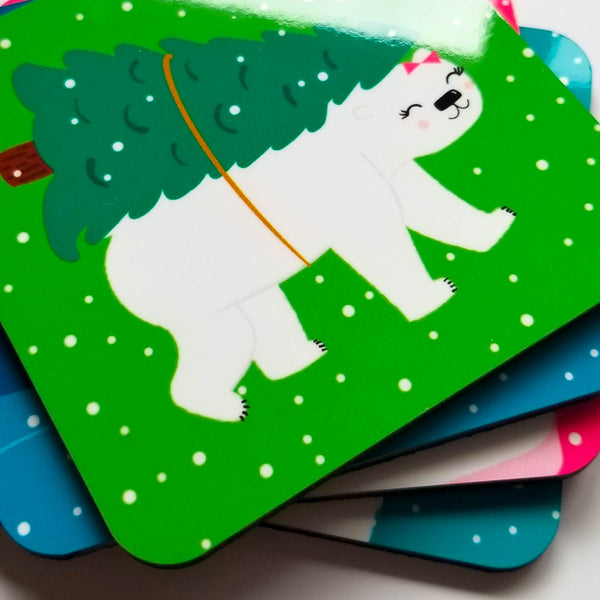 Bright Polar Bear Winter Coaster Set