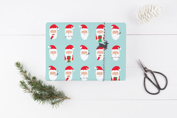 Fun Illustrated Santa Wrapping Paper