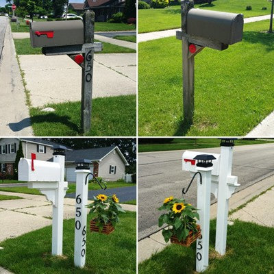 DIY Mailbox Project, Mailbox Makeover, New Mailbox Post, New Address Post, Sunflowers in hanging basket