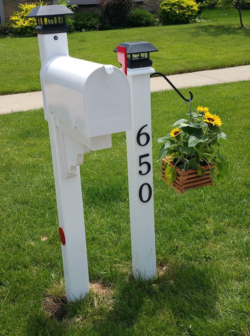 Mailbox Makeover, New Mailbox Post, New Address Post, Sunflowers in hanging basket