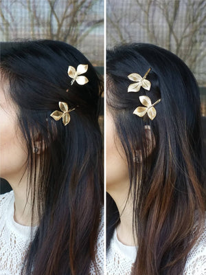 Woman wearing a leaf hair bobby pin for a wedding