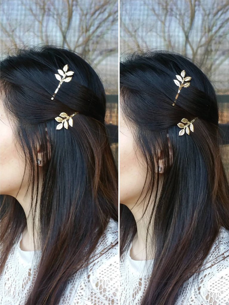 Woman wearing leaves hair bobby pins for a wedding, Leaves Hair Bobby Pins, Branches Hair Clips, Bridesmaid Hair, Bridesmaid Hair Accessories - Bedao Boutique