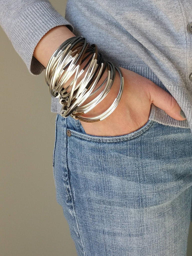 Black leather and Silver leather wrap, Leather Bracelets - Bedao Boutique