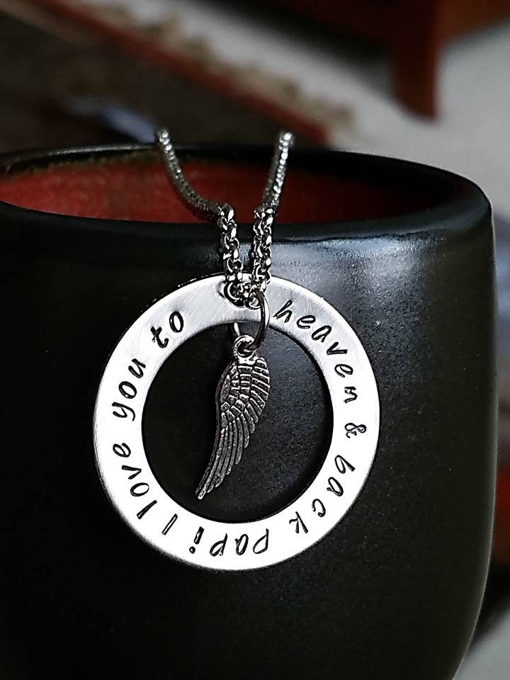 Personalized silver circle pendant with angel wing necklace