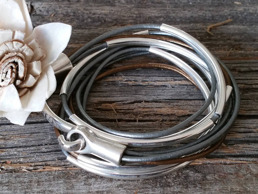 Bronze and silver leather wrap, Leather Bracelets - Bedao Boutique
