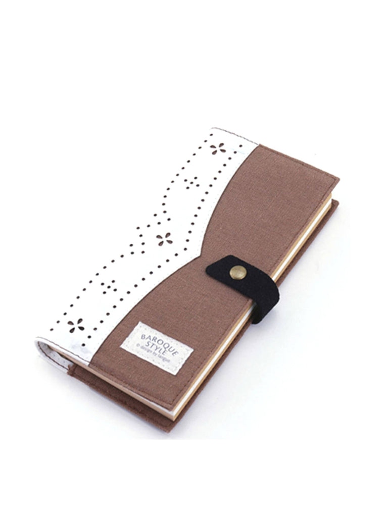 Brown and White Linen fabric journal, Brown and White Journals and Notebooks