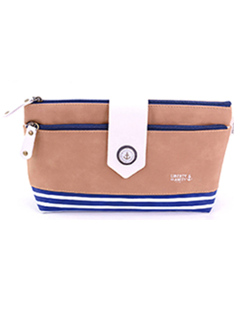 Light Brown makeup toiletry bag with navy stripes, Cosmetic Bags