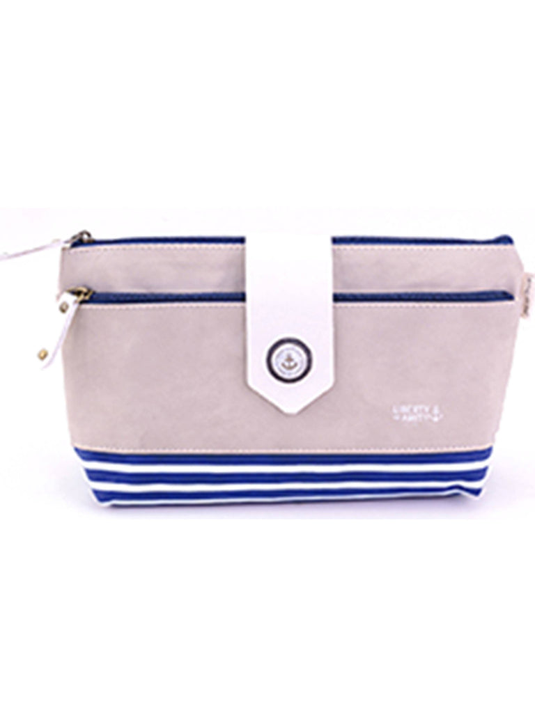 Light Gray makeup toiletry bag with navy stripes, Cosmetic Bags
