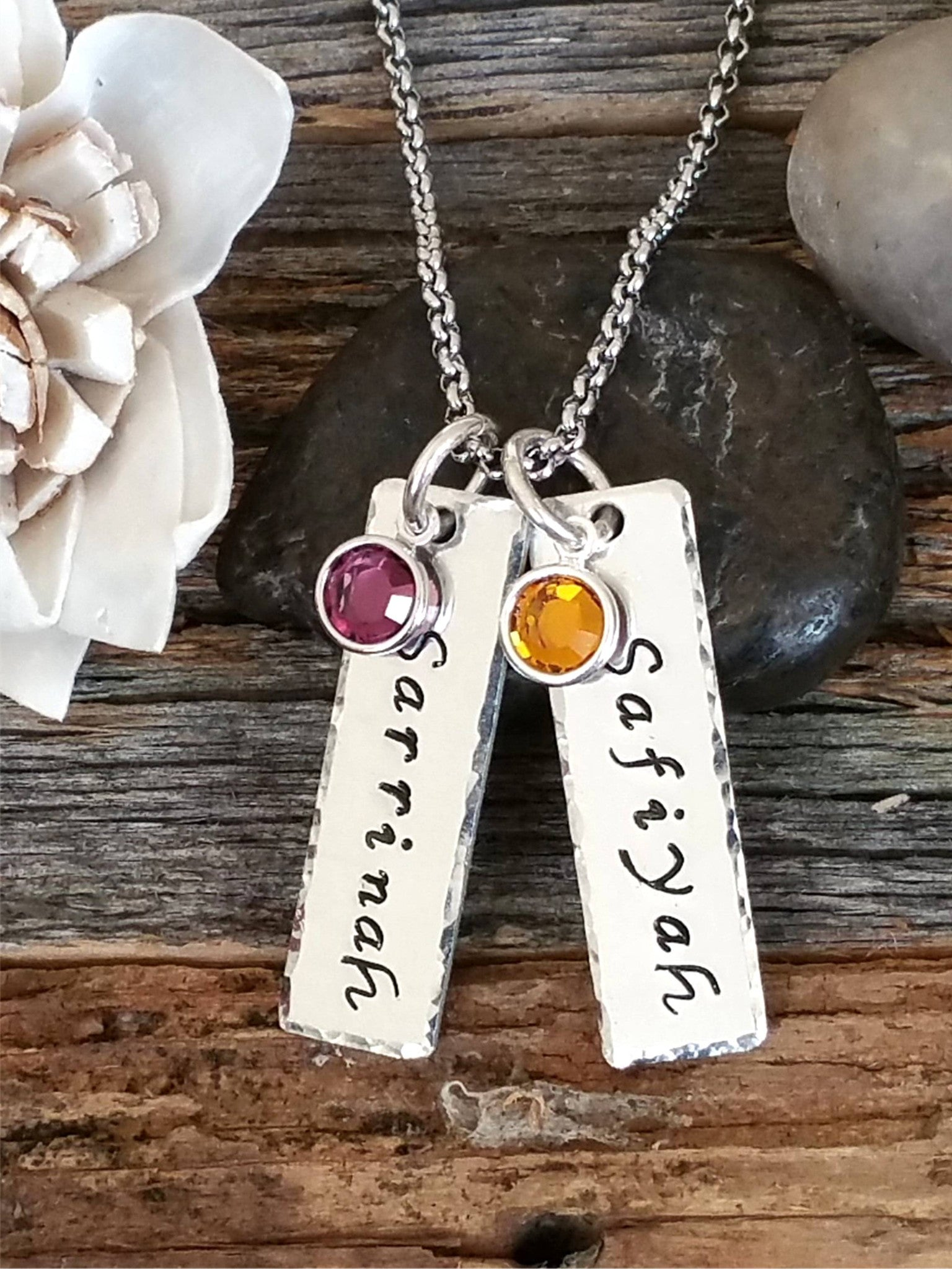 Personalized name tags with birthstones necklace