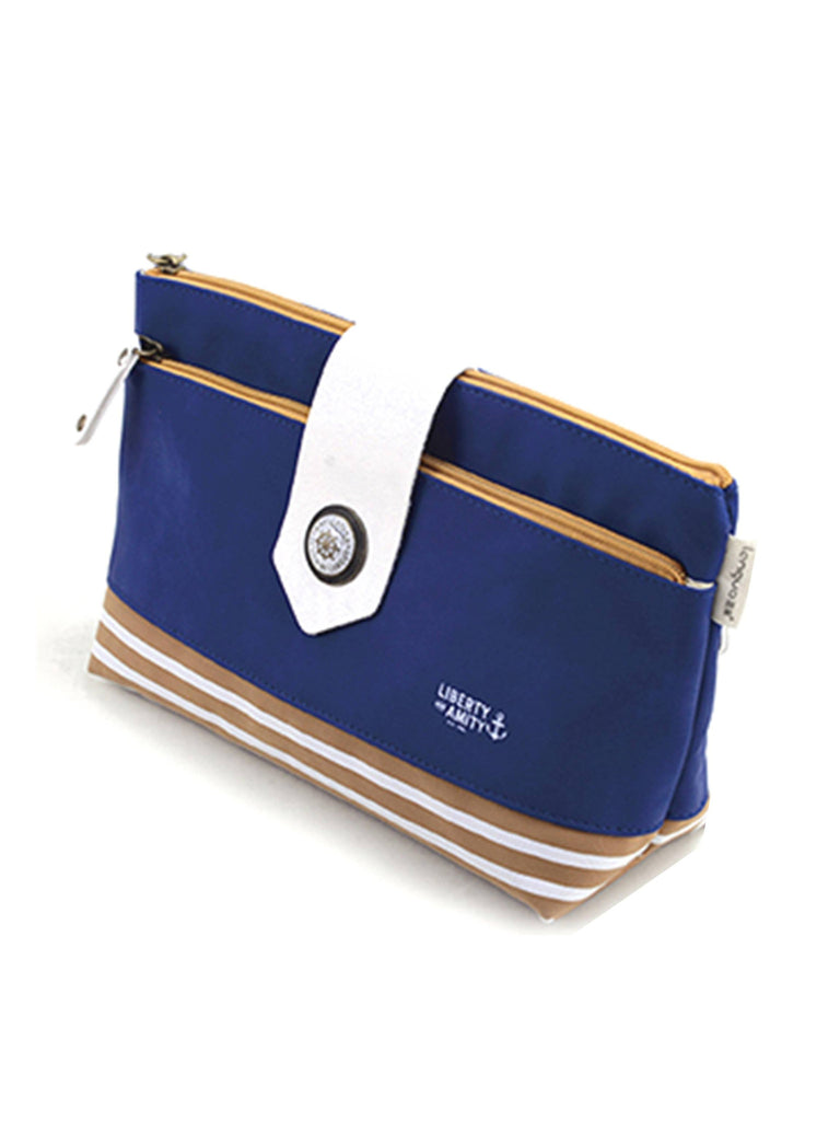 Navy Blue makeup toiletry bag with navy stripes, Cosmetic Bags