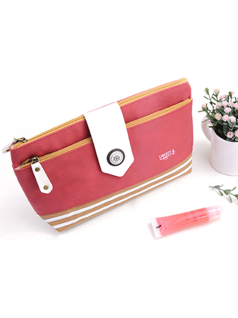 Red makeup toiletry bag with navy stripes, Cosmetic Bags