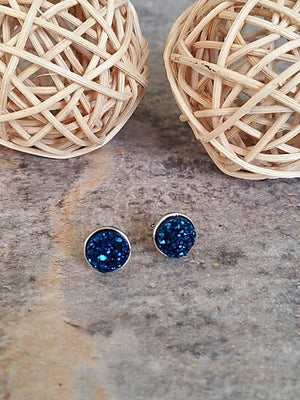 Blue Earrings, Druzy Earrings, Druzy Studs, Bridal Earrings, Bridesmaid Earrings, Bridesmaid Gifts - Bedao Boutique